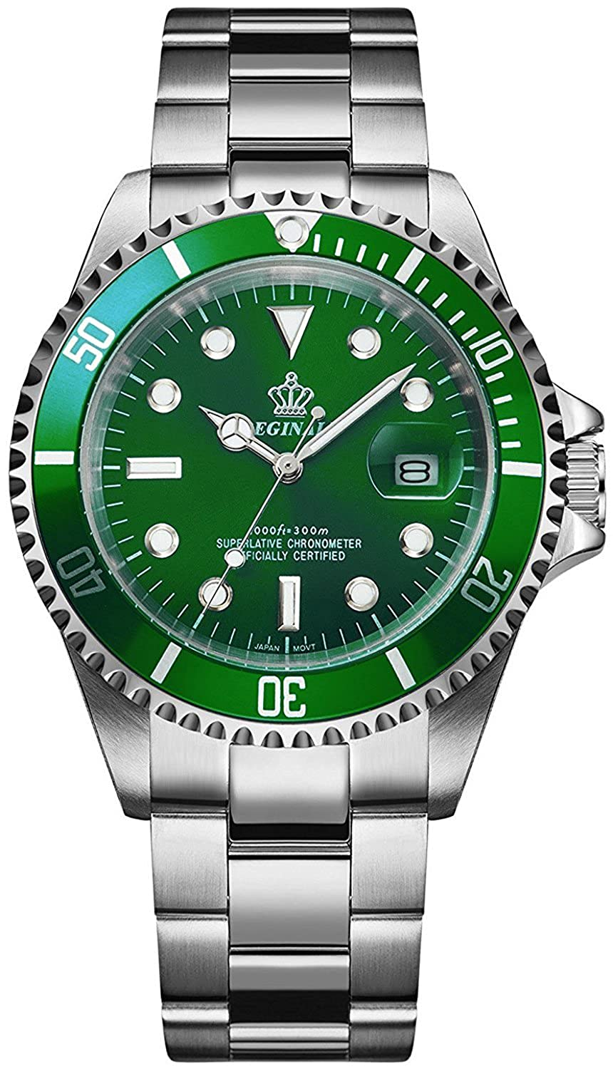 Amazon.com: Gosasa 2016 New Fashion Quartz Watch Men Stainless Steel Dress Watch with Green Dial Water Proof: Watches