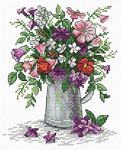 MP Studia Counted Cross Stitch Kit Pink Flowers Summer Trio