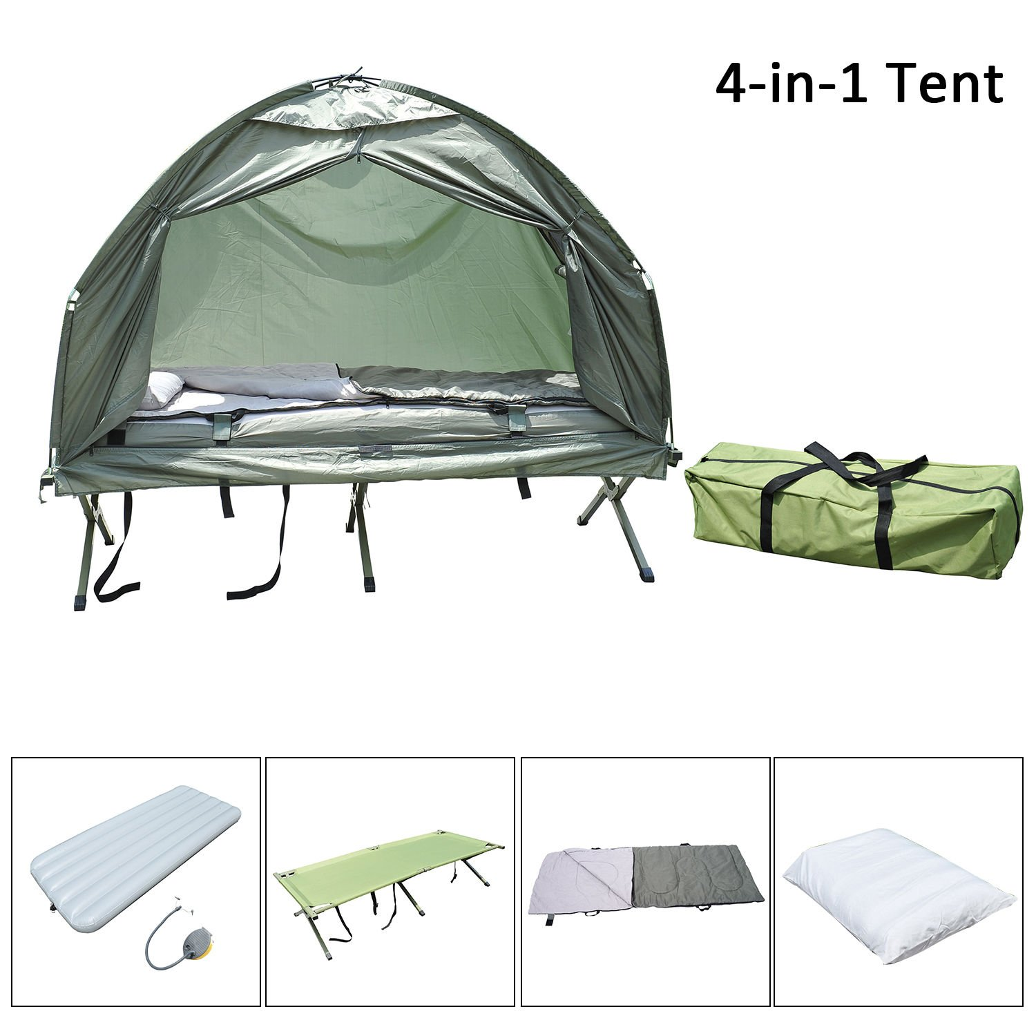 227358189c9 Amazon.com : Outsunny Compact Portable Pop-Up Tent/Camping Cot with Air  Mattress and Sleeping Bag : Garden & Outdoor