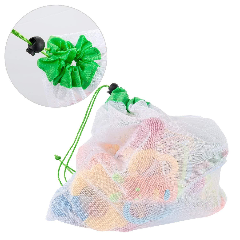 AYUTOY 12 Unidades Bolsas de la Compra Reutilizables Ecol/ógicas Bolsa de Malla para Almacenamiento Fruta Verduras Juguetes Lavable y Transpirable 3 Diversos Tama/ños