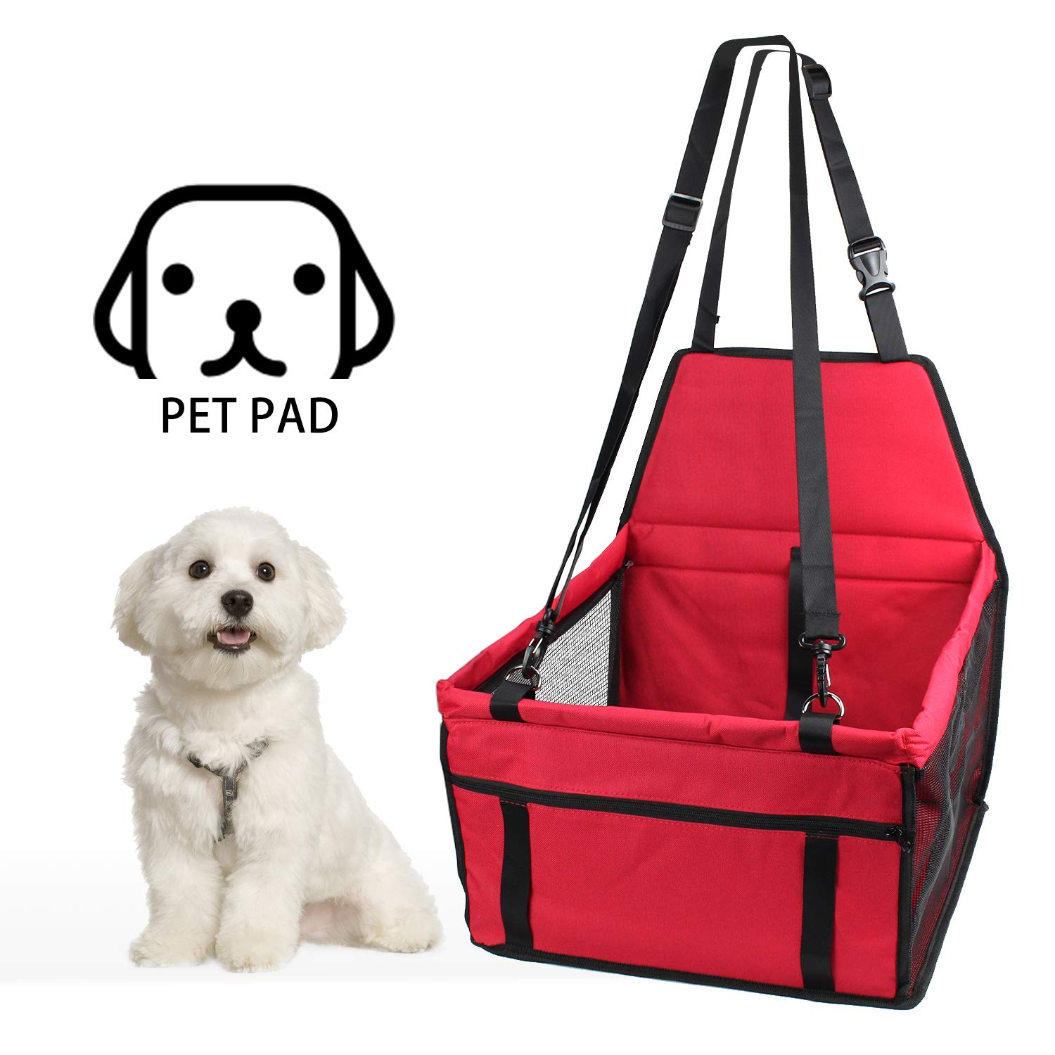 penobon Dog Booster Seat Pet Car Seat Carrier Protector Portable Foldable Carrier with Seat Belt Storage Package Dog Lookout Booster Car Seat Safety Fit for Small Pets Dog Cat Up to 15lbs by penobon