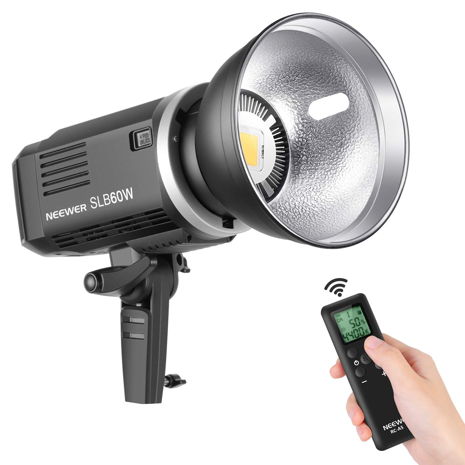 Neewer SLB60W LED Video Light White 5600K Version,60W CRI 93+,TLCI 95+ with Remote Control and Reflector,Continuous Lighting Bowens Mount with 8700mAH Lithium Battery for Photography Outdoor Shooting