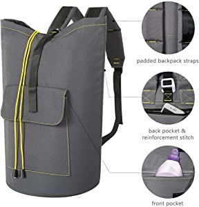 ZERO JET LAG 70 L Extra Large Laundry Bag Heavy Duty Backpack with Straps Pockets Hanging Laundry Hamper College Essentials Storage Basket Storage Bag Dorm Home (Light Grey,XL)