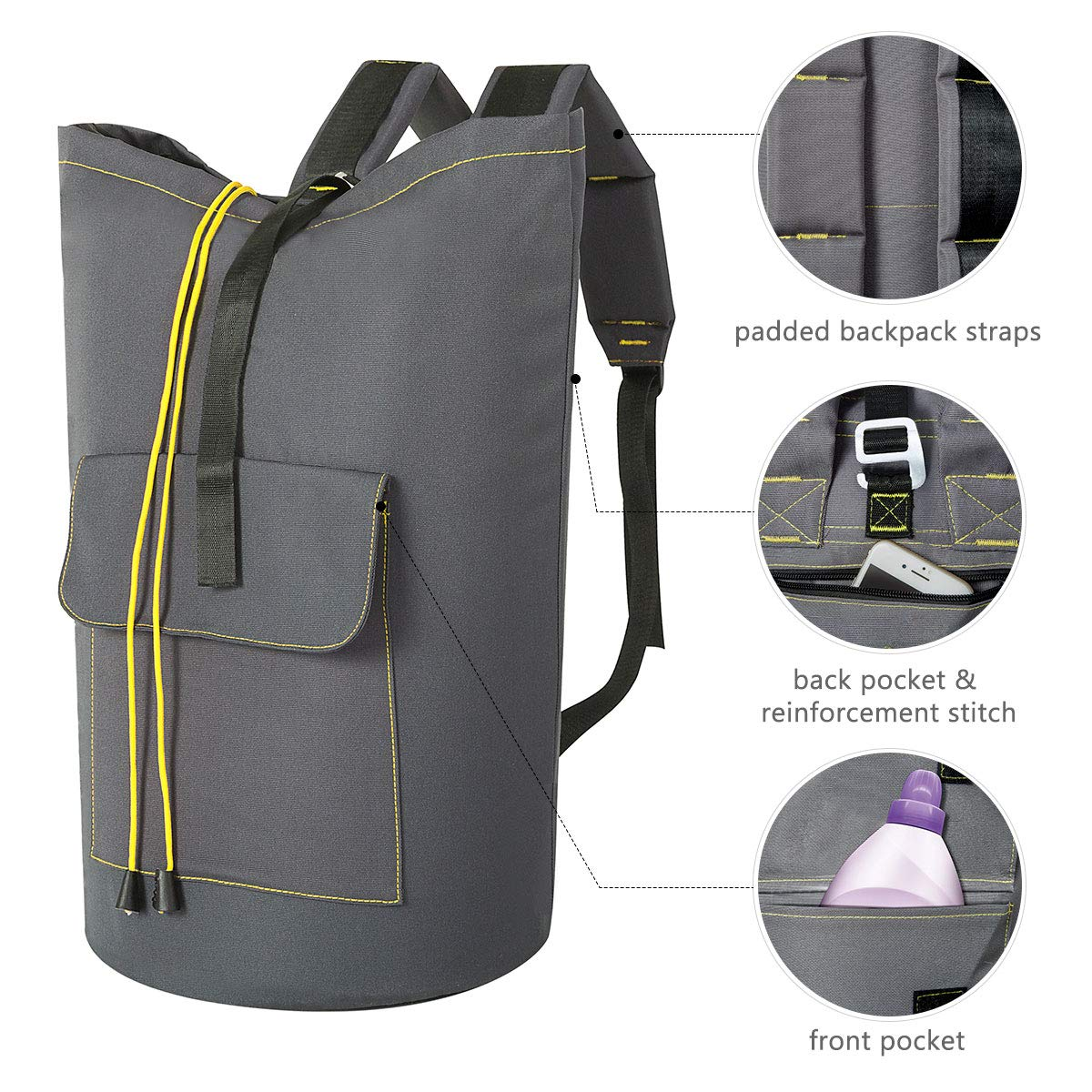 WOWLIVE Large Laundry Bag Laundry Backpack Hanging Laundry Hamper Adjustable Shoulder Straps Camping Bag Waterproof Durable Travel Collage Apartment Dorm Sports (Expandable to 30\'\',Grey)