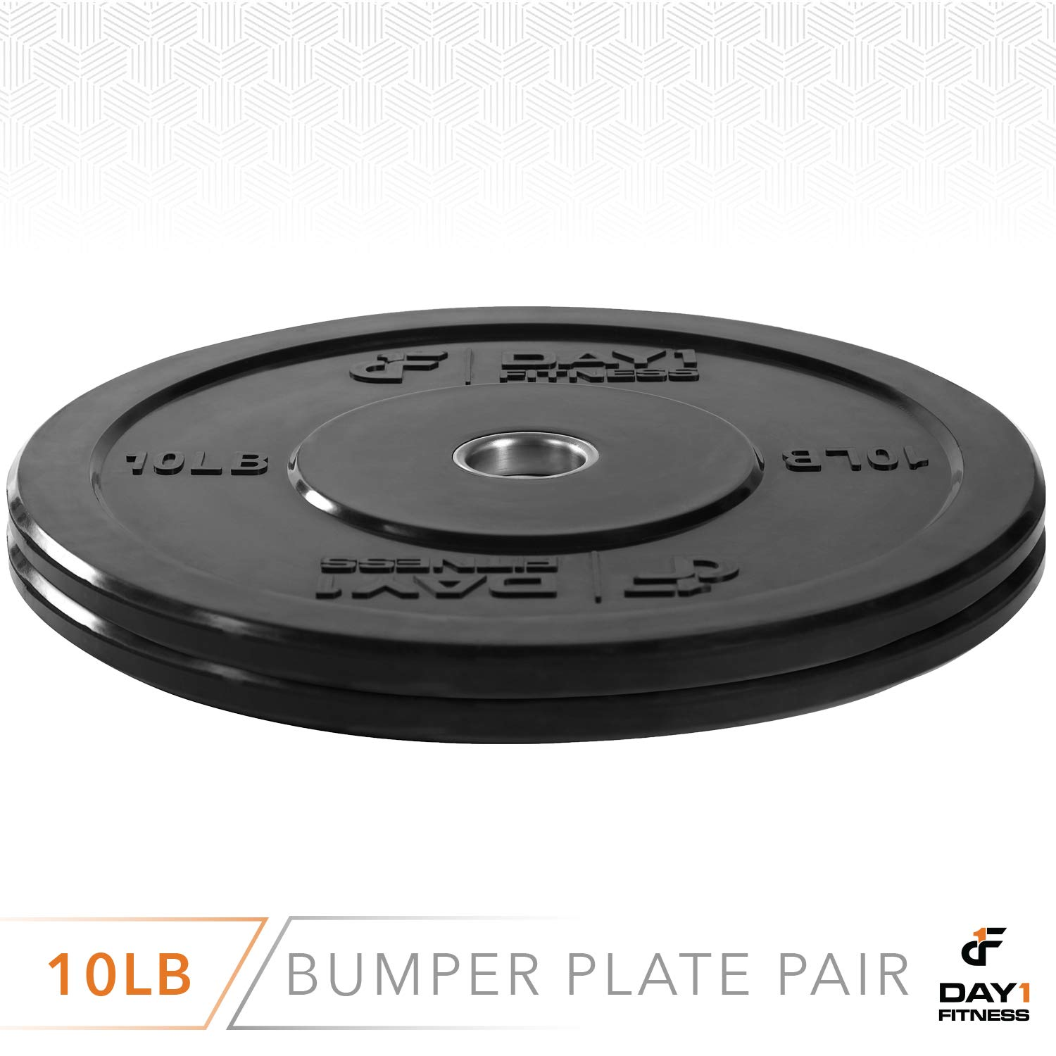 """Day 1 Fitness Olympic Bumper Weighted Plate 2"""" for Barbells, Bars – 10 lb Set of 2 Plates - Shock-Absorbing, Minimal Bounce Steel Weights with Bumpers for Lifting, Strength Training, and Working Out by Day 1 Fitness (Image #3)"""