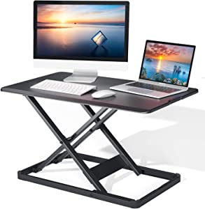 "Standing Desk Converter with Height Adjustable, 28.3"" Gas Spring Riser Sit to Stand Tabletop Workstation, Perfect for Laptop & Computer Monitors by Perlegear"