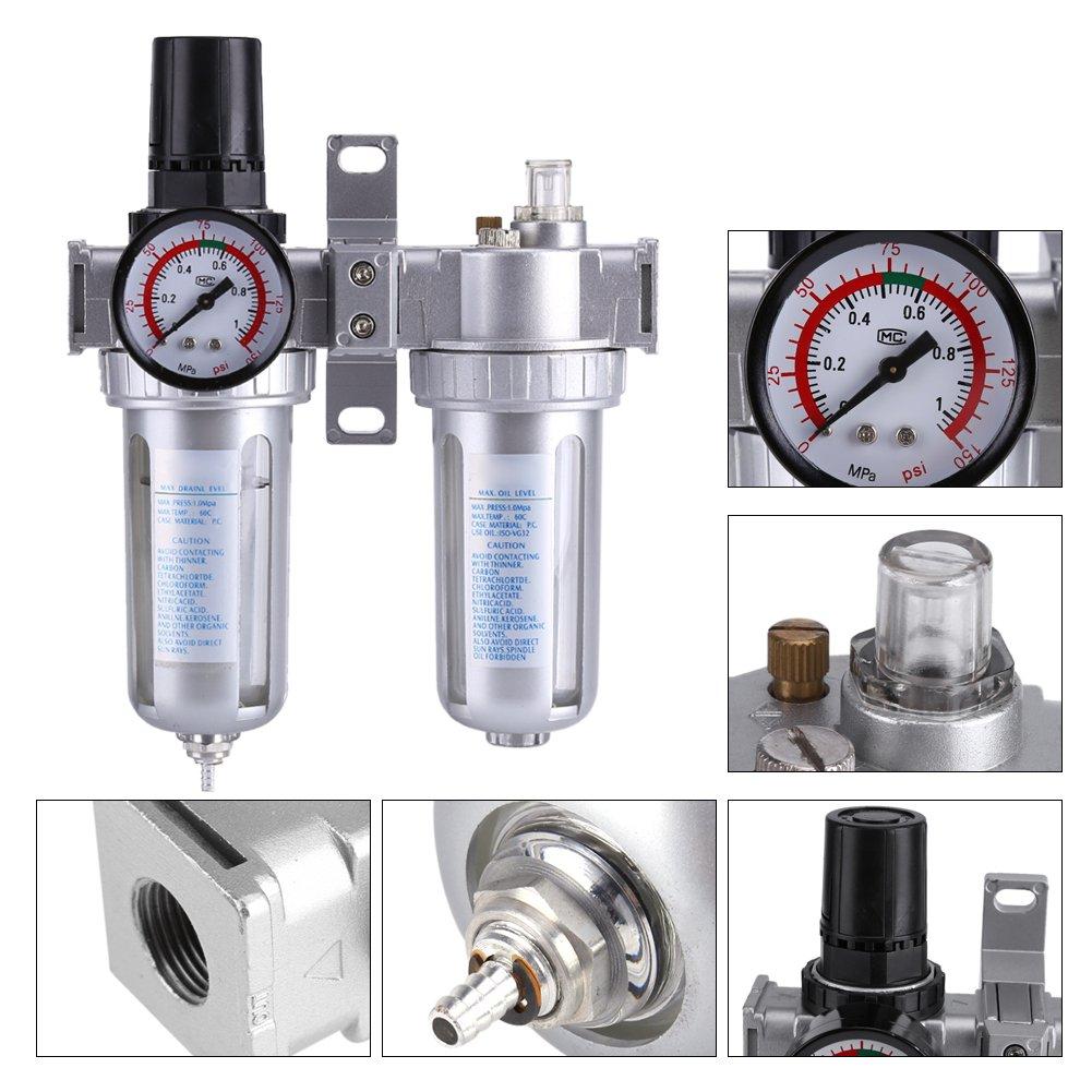 Air Compressor Filter Regulator Moisture Water Trap Cleaner Separator Tool SFC300 3//8 Air Pressure Regulator Gauge
