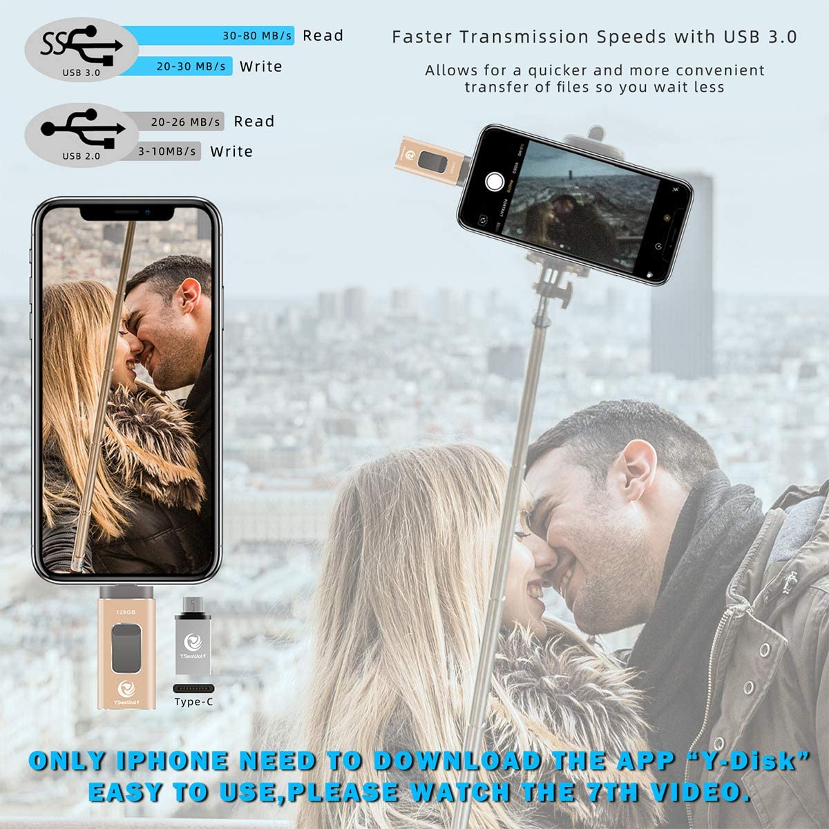 PC iPhone Picture Stick iPhone Memory Stick iPhone Flash Drive for iPhone 256GB 4 in 1 USB Flash Drive Type c Flash Drive 3.0 YSeaWolf photostick Mobile for iPhone External Storage Android Gold