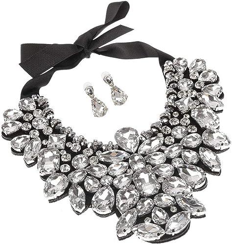 White Lace Mutlit Stone and Chain Bib Style Choker Necklace NWT