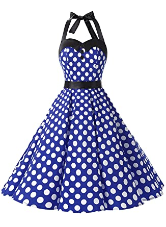 69d1521f600 Dressystar Vintage Polka Dot Retro Cocktail Prom Dresses 50 s 60 s Rockabilly  Bandage Royal Blue White Dot XXL  Amazon.in  Clothing   Accessories