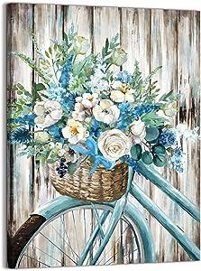 Bathroom Canvas Wall Decor Blue Retro Bike wall art rural Style Flower Basket artwork for Farmhouse Dining Room, Kitchen, Bedroom, Office, (12X16)