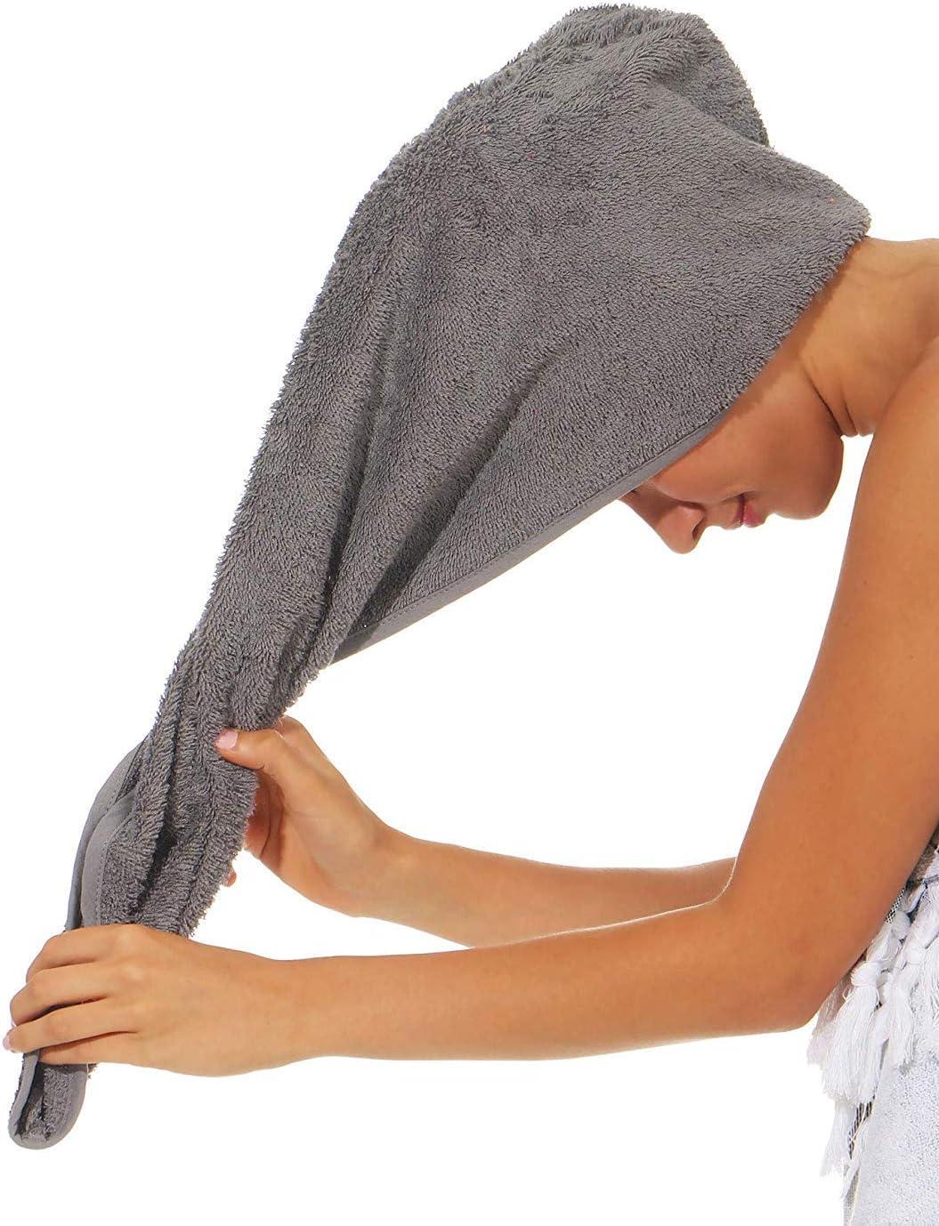 Baumwolle Farbe Anthrazit NATURA WALK Handtuch f/ür Haare Haarturban aus BIO Gr/össe Turban