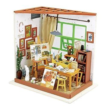arkind atelier de peintre maison 3d puzzle diy house books woodcraft kit de construction handmade dolls - Jeux De Decoration De Maison 3d
