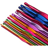 Luxbon 14 Sizes Multi-coloured Aluminum 2mm-10mm Handle Crochet Hooks Knitting Knit Needles Weave Yarn Set
