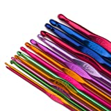 Luxbon-Pack Of 14 Sizes Multi coloured Aluminum Crochet Hooks Set Knitting Needles 2mm-10mm In a Plastic Partitioned Wallet/Case