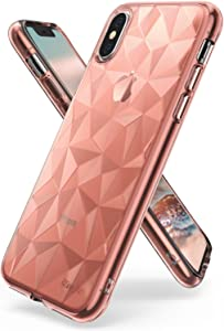 Ringke Air Prism Designed for iPhone X Case, 3D Contemporary Design Flexible TPU Cover for iPhone X Case, iPhone 10 (Not Compatible with iPhone Xs) - Rose Gold