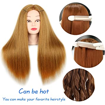 Amazon Com 20 Inch Mannequin Head Hair Styling Human Hair Training