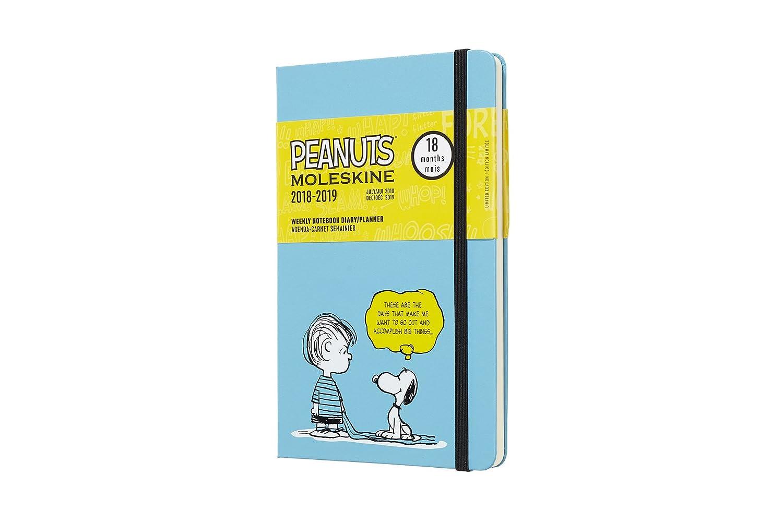 Moleskine DPE18WN3Y19 - Libreta semanal 18m de edición limitada Peanuts, grande, color azul
