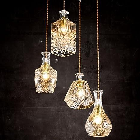 Botella de vino tallada vintage, lámpara de cristal colgante, lámpara creativa, cuatro cabezas