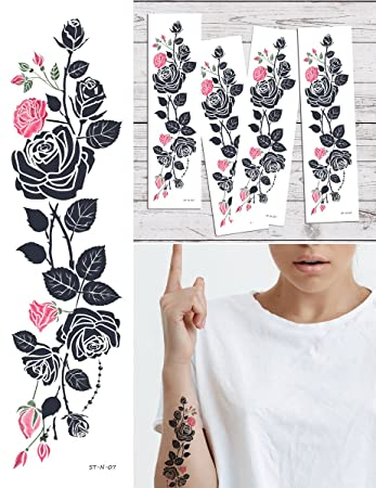 2ae52eecf Amazon.com: Supperb Temporary Tattoos - Pink Tribal Flower Vine ...