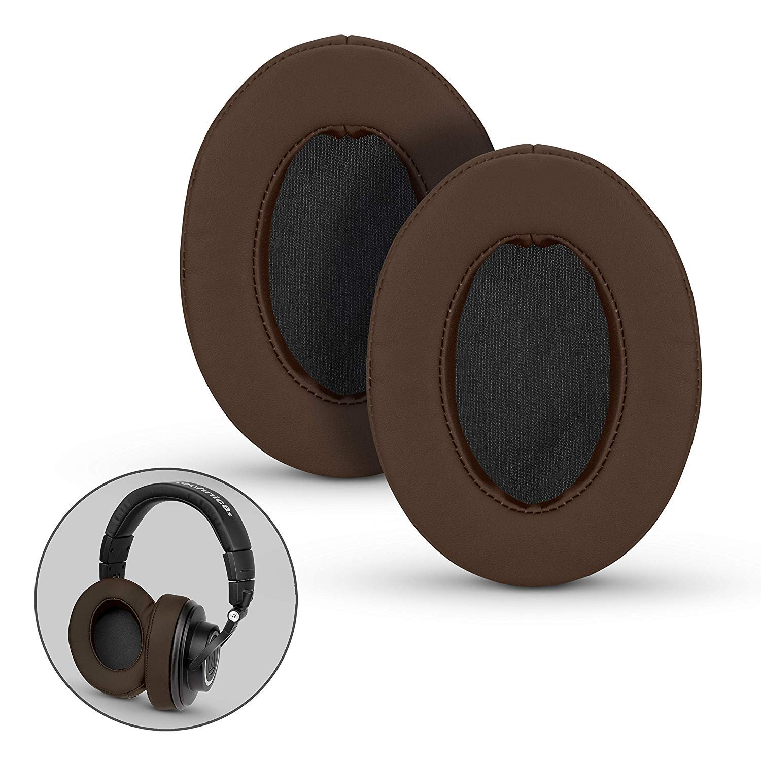 Brainwavz Ear Pads for ATH M50X, M50XBT, M40X, M30X, HyperX, SHURE, Turtle Beach, AKG, ATH, Philips, JBL, Fostex Replacement Memory Foam Earpads & Fits Many Headphones (See List), Brown Oval
