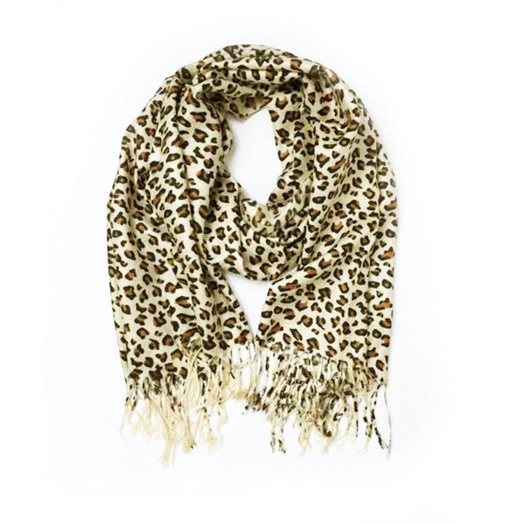 Paskmlna Animal Print Fringed Shoulder Pashmina Wrap Scarf - Leopard Zebra Patterns MP