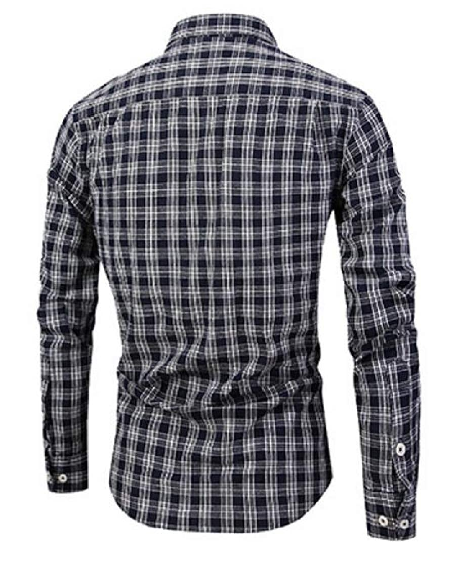 YUNY Men Plaid Pattern Square Collor Long-Sleeve Classic Trim-Fit Washed Shirts AS4 XL