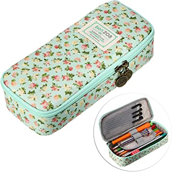 Amazon Com Btsky Cute Pencil Case High Capacity Floral Pencil Pouch Stationery Organizer Multifunction Cosmetic Makeup Bag Perfect Holder For Pencils And Pens Light Blue Office Products