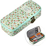 BTSKY Cute Pencil Case -- High Capacity Floral Pencil Pouch Stationery Organizer Multifunction Cosmetic Makeup Bag, Perfect Holder for Pencils and Pens (Light Blue)