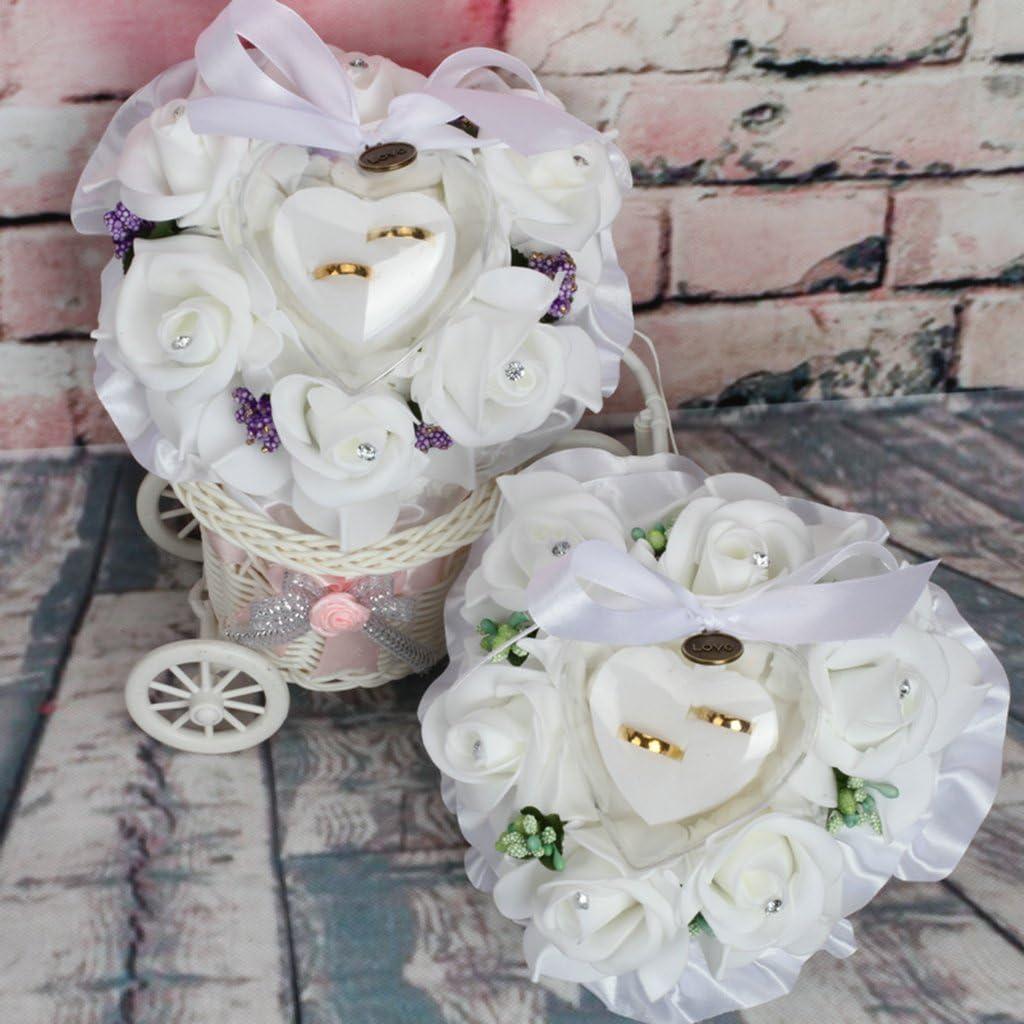 Nylon Lamdoo Ring Box Bl/ätter Flower Kissen Dekoration Hochzeit Schmuck Geschenke Romantische 5.91x5.91x3.54in gr/ün 15x15x9cm