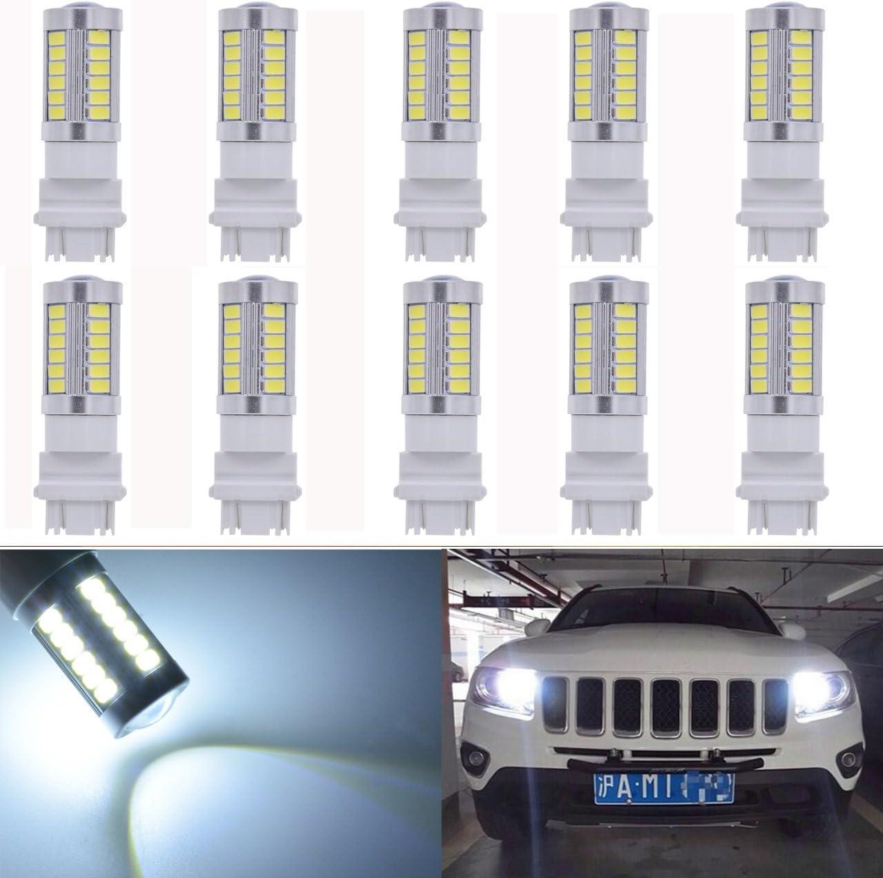 KATUR 4-Pack Amber Super Bright 950Lums 3157 3047 3057 3155 3457 4057 Base 33 SMD 5050 LED Replacement for Car Incandescence Bulb RV Camper Brake Turn Lamp Lights DC 12V 3500K