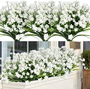 ArtBloom Artificial Flowers Faux Plants, Lifelike Fake Greenery Foliage Shrubs with Purple Baby's Breath Flowers for Garden, Patio Yard, Wedding, Office and Farmhouse Indoor Outdoor Decor