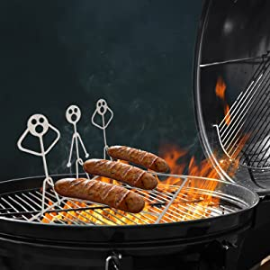 AWEIR Marshmallow Roasting Sticks Hot Dog Sticks for Campfire Funny Hot Dog Roasters, Human-Shaped Campfire Grill Stick, Three-Person Barbecue Metal Art Grill,Funny Metal Craft Skewer Stick