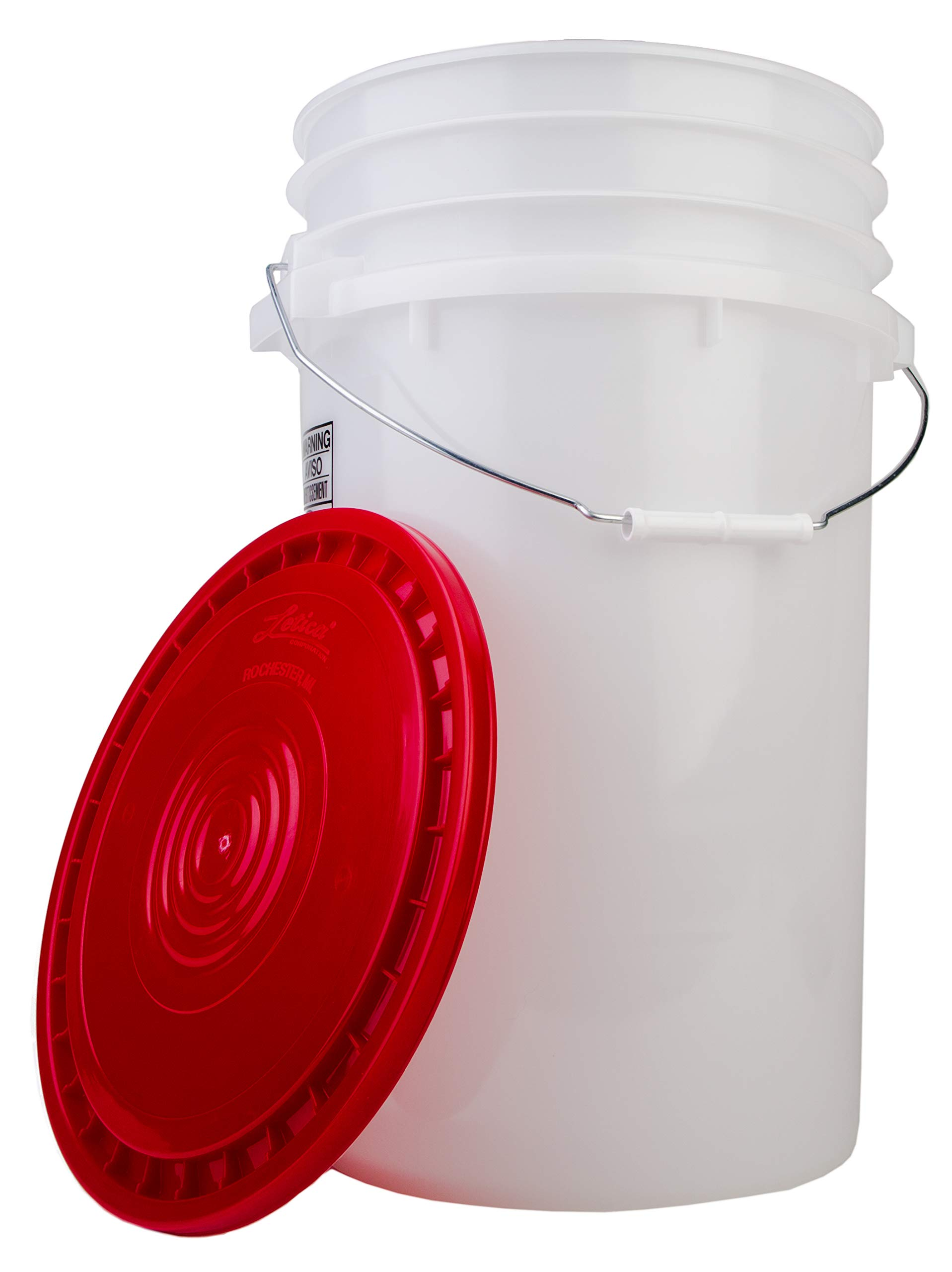 Hudson Exchange Car Wash, Dust Collector & General Use 7 Gallon Bucket with Red Lid, HDPE, Natural