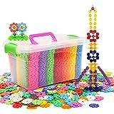LA HAUTE Kids Building Blocks 500Pcs Plastics Snowflakes Construction Toys Plastic Disc Set Educational Toys with Storage Box