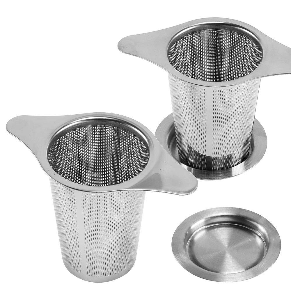 AILANDA 2pcs Teesieb Edelstahl Teefilter f/ür Losen Tee Kaffeefilter Wiederverwendbar mit Doppel-Griff Deckel Kaffee Handfilter Tee-Sieb f/ür Tasse Teekanne Tee-Schalen und die Meisten Tee-Tassen