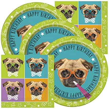 Amazoncom Pug Themed Birthday Party Napkins And Plates Toys Games