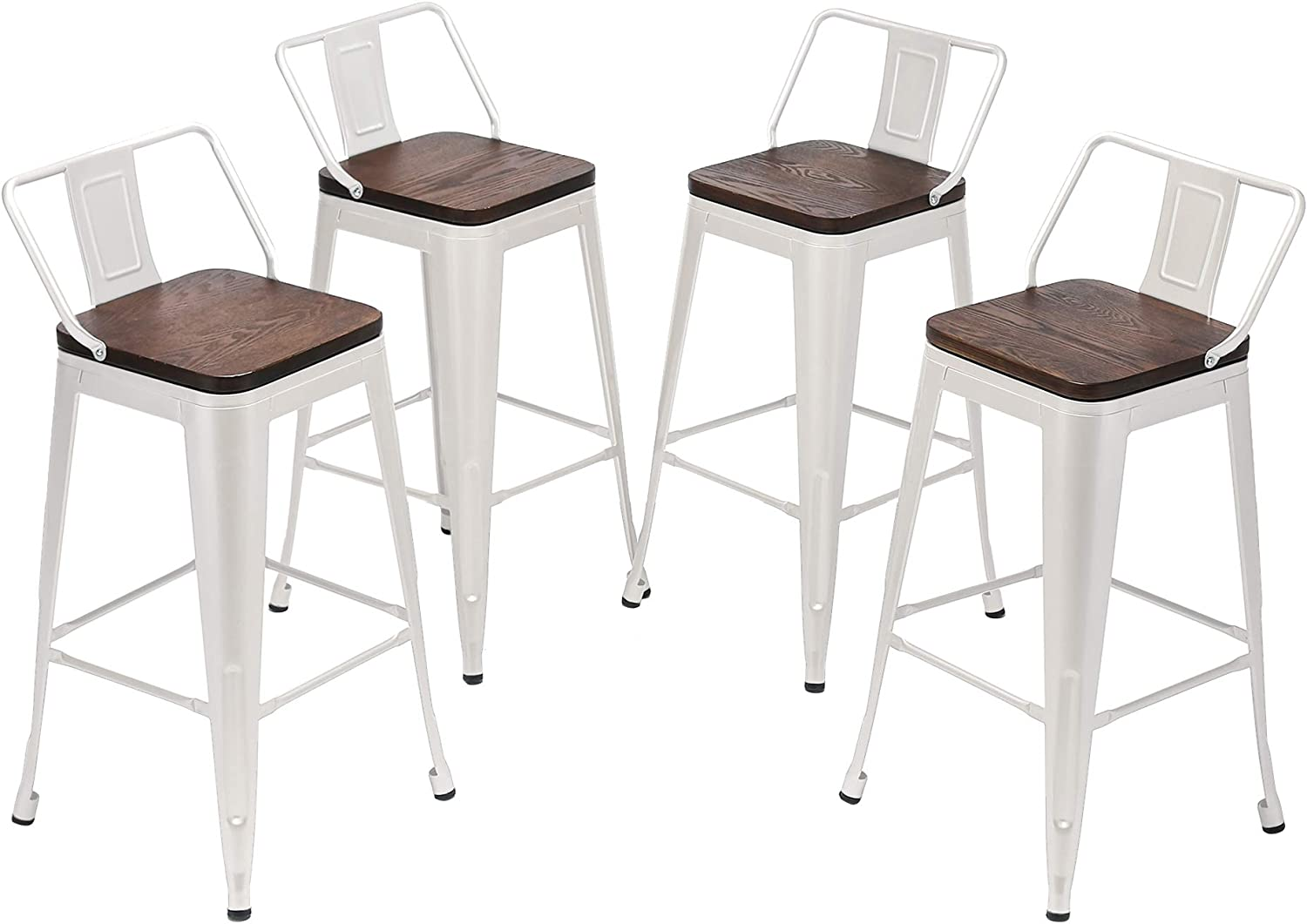 Amazon Com Yongqiang Metal Bar Stools With Back Set Of 4 Kitchen Counter Height Stools With Wooden Seat 24 White Kitchen Dining