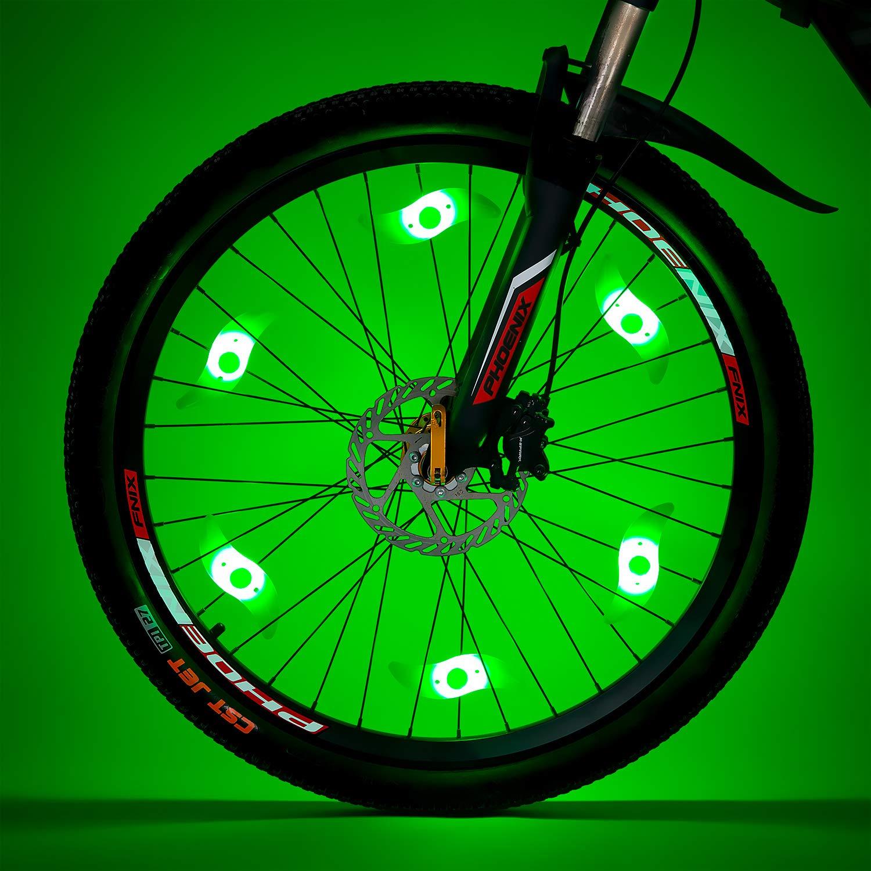 Willceal Bike Spoke Light 6PCS, Bike Wheel Light,Tyre Wire Right with 6 LED Flash Model Neon Lamps,Bike Safety Alarm Light. (Green)