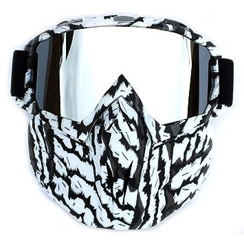 HengQiu Máscara de motocicleta con gafas, a prueba de niebla, resistente al viento,
