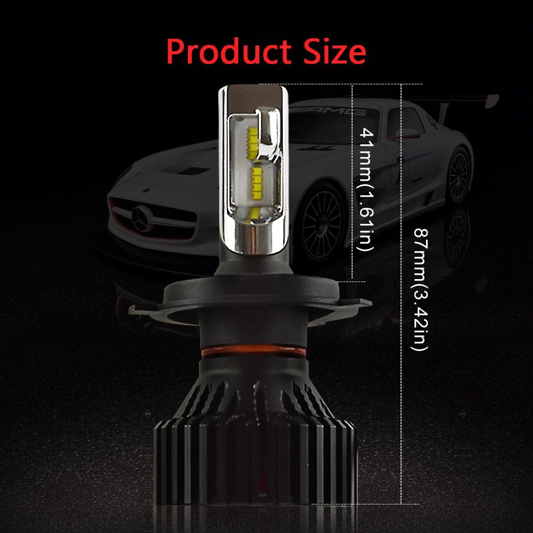 H4 LED Hi/Lo LED Faro Bombillas - Kashine H4 LED Conversión Kit Blanco 26W 8000LM Auto Coche lámpara con la viruta del ZES para el Luces Halógenas HID ...