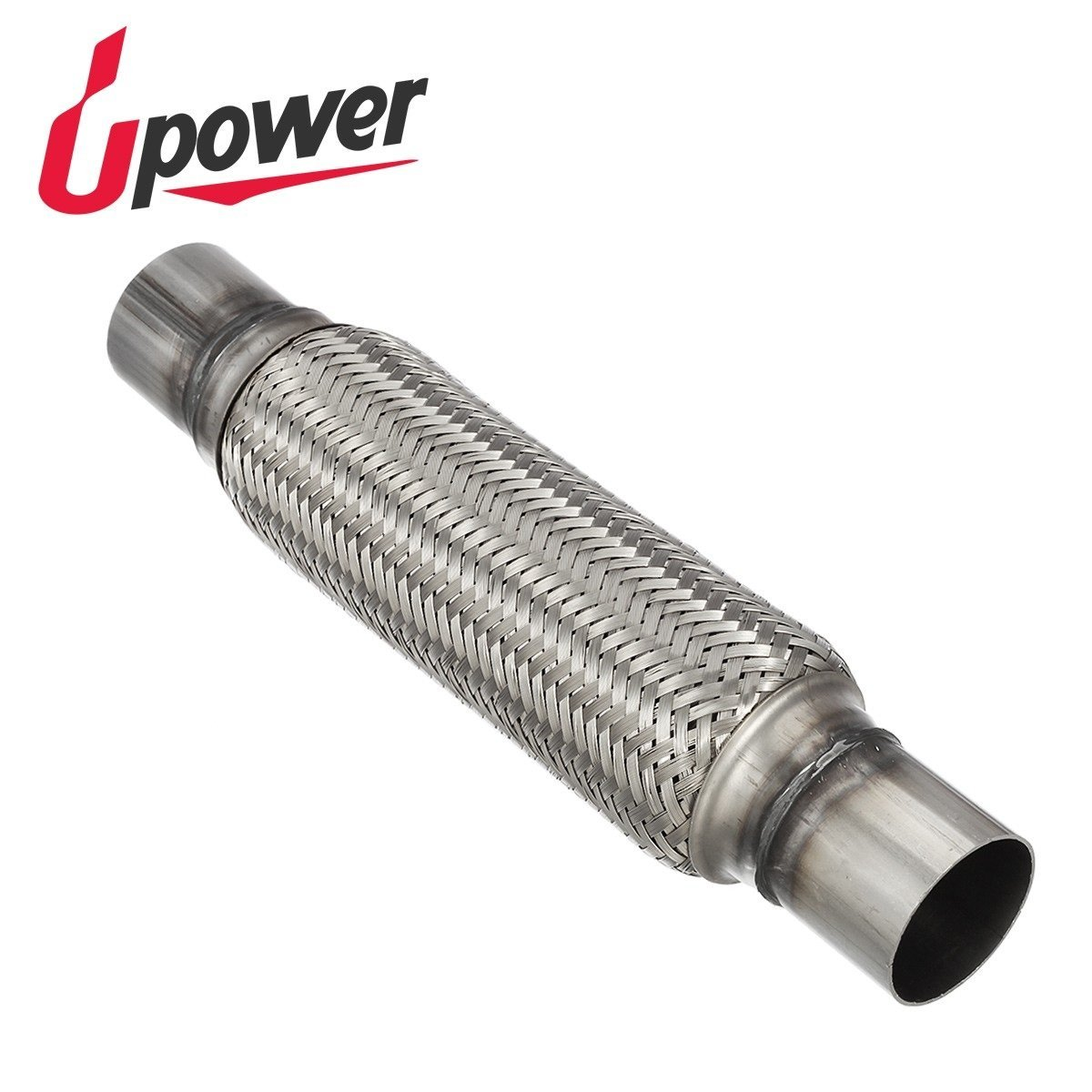 Upower 2 Inch Diameter Exhaust Flex Extension Pipe Connector Tube, 4'+10' 14'OAL Heavy Duty Stainless Steel 4+10 14OAL Heavy Duty Stainless Steel Partssquare
