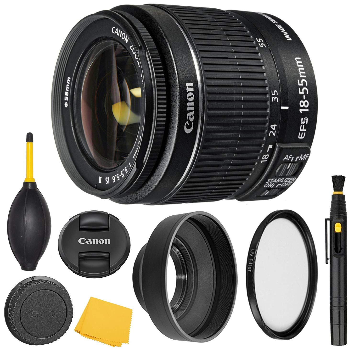 Canon EF-S 18-55mm f/3.5-5.6 is II Lens (2042B002) + AOM Pro Starter Bundle Kit - International Version (1 Year AOM Warranty) by AOM
