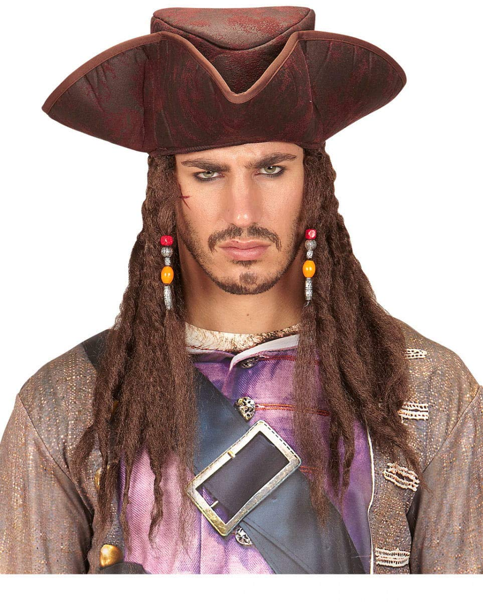 Lederoptik Piratenhut mit Dreadlocks