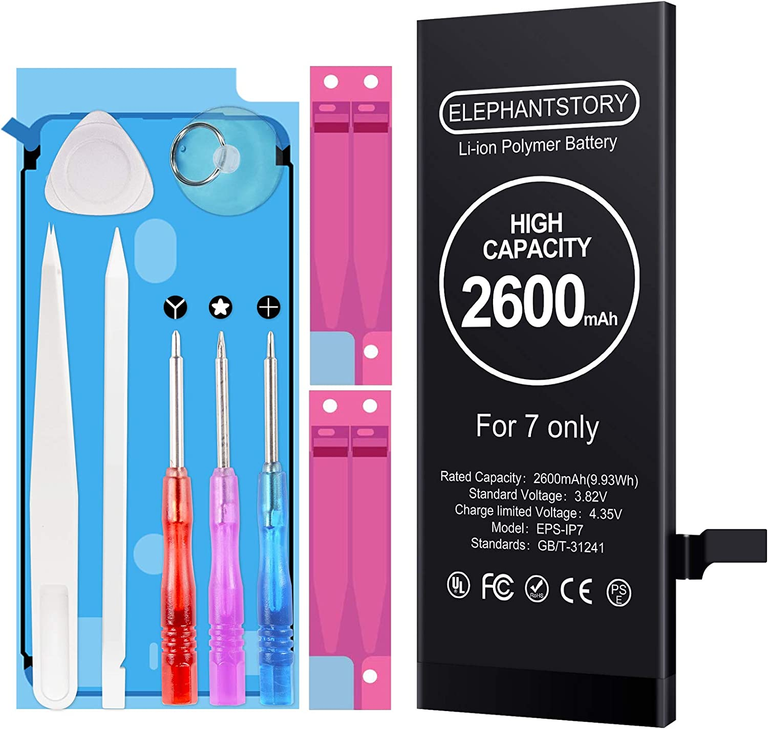 Amazon Com Battery For Iphone 7 7g High Capacity 2600mah Iphone 7 Replacement Battery New 0 Cycle Fit For Model A1660 A1778 And A1779 With Professional Repair Tool Kit And Instructions Upgraded Electronics