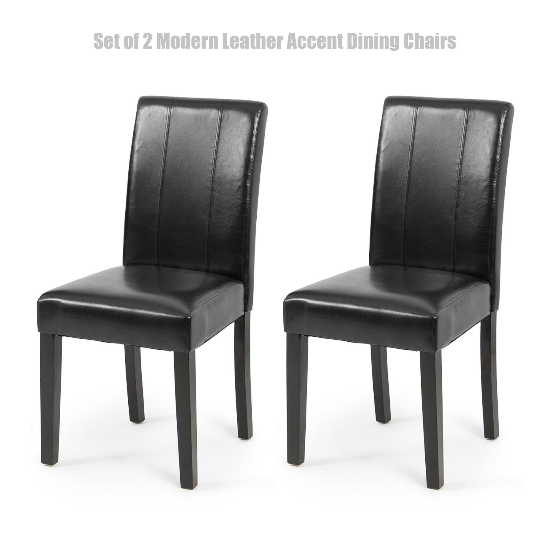 Modern Design High Backrest Dining Chairs Sturdy Hardwood Legs Unique PU Leather High Density Foam Seat Home Office Furniture Set of 2 Black #1452bk