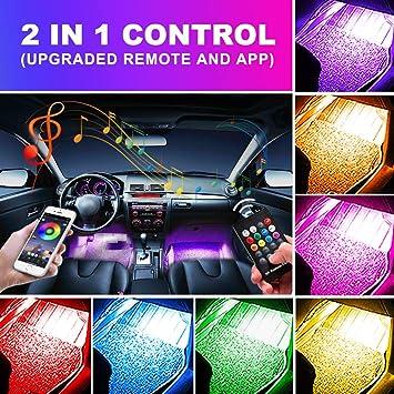 Car Led Strip Light 48 led RGB Car Interior Light Waterproof Multi Color Strip Light Bluetooth App Control Atmosphere Light Under Dash Lighting Kits for iPhone Android Smart Phone