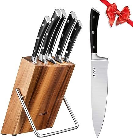 Amazon.com: Aicok - Juego de cuchillos de cocina (6 piezas ...