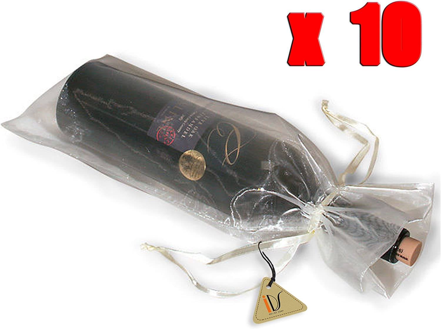 10pcs Lace Sheer Organza Wine Bottle Gift Bags Christmas Party Weddings Holiday