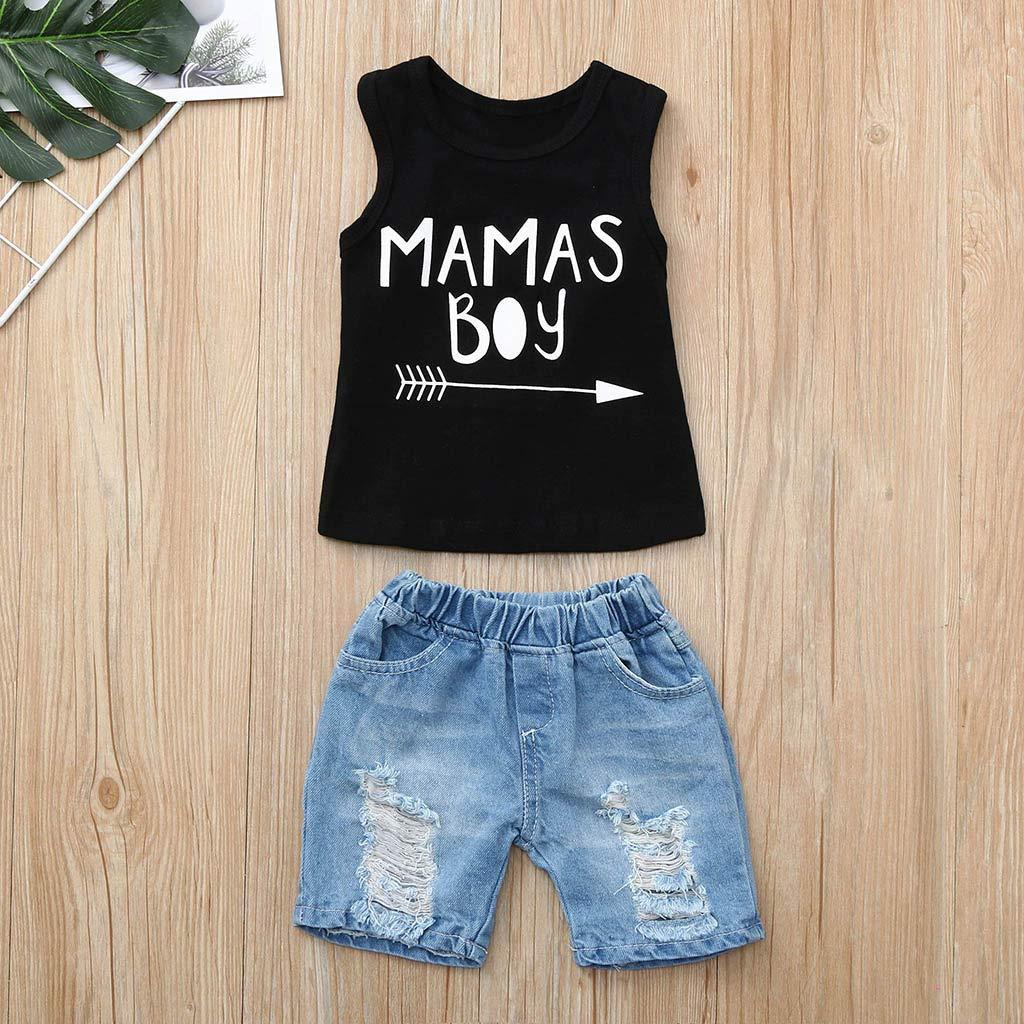 Dinlong Summer Toddler Baby Boys Sleeveless Letter Print Vest Tops+Fashion Hole Denim Shorts 2Pcs Outfits